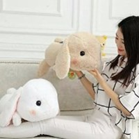 LightningStore Adorable Cute Sleeping Rabbit Rabit Pink Brown White Grey Doll Realistic Looking Stuffed Animal Plush Toys Plushie Children's Gifts Animals