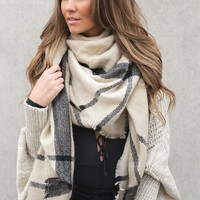 Autumn Nights Blanket Scarf (Beige)