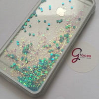 Blue Liquid Heart moving glitter iPhone 6+, 6, 5s, 5c, 5, 4s, 4 phone case Samsung S3, S4, S5, S6 phone case sand glitter