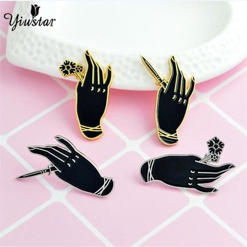 yiustar Personality  Handle Rose Hand Knife Dagger Gothic Punk Enamel Pin Black Witch Hand Brooch Denim Jackets Badge Friends