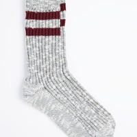 Burgundy Double Striped Marled Crew Socks | Socks | rue21