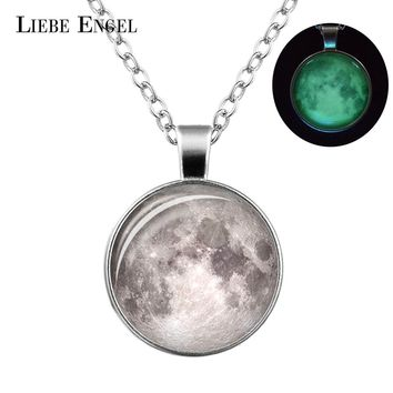 LIEBE ENGEL Glowing in the Dark Galaxy Moon Pendant Necklace For Women Jewelry Luminous Necklace Vintage Silver Color Chain