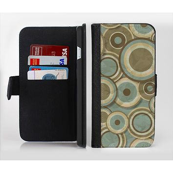 The Blue and Green Overlapping Circles Ink-Fuzed Leather Folding Wallet Credit-Card Case for the Apple iPhone 6/6s, 6/6s Plus, 5/5s and 5c