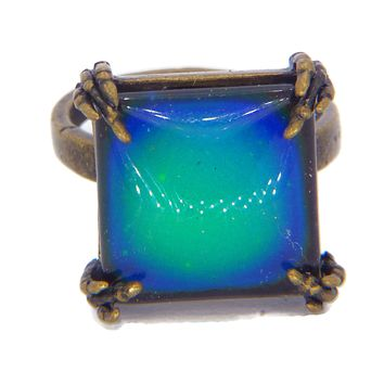 Brass Claw Square Mood Ring, Adjustable