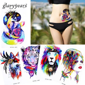 1 Sheet Watercolor Beauty Women Body Makeup Tattoo Back Waist Art Decal Lion Elephant Temporary Tattoo Sticker Paper 2017 Latest