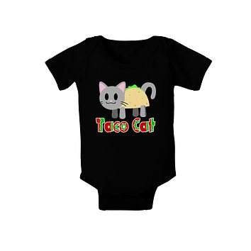 Cute Taco Cat Design Text Baby Bodysuit Dark by TooLoud