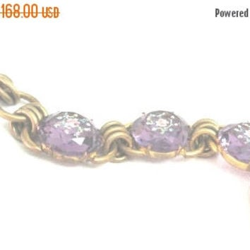 BLACK FRIDAY SALE, Czech Glass Bracelet Amethyst Glass Flower Bracelet 1930s Vintage Jewelry