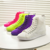 2016 Korean Fashion Solid Candy Color High Top Casual Canvas Shoes Lace up Flats Shoes Woman White Yellow Rose