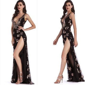 Womens Side Split Maxi Dress Sequined Decorate Solid Sexy Deep V neck Backless Evening Elegant Spaghetti Strap Party dress