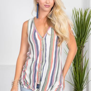 Bradley Stripe Knot Top