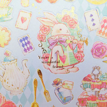 Japanese Alice in Wonderland whimsical stickers - kawaii Cheshire Cat - The White Rabbit - Mad hatter tea party - sweets & treats - flamingo
