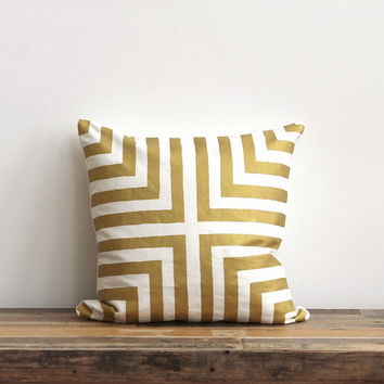 Doha pillow cover in metallic gold hand printed on off-white organic cotton hemp 20x20