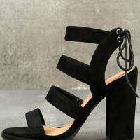 Sydney Black Suede High Heel Sandals