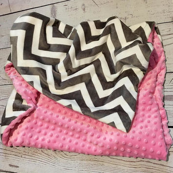 Personalized Baby Blanket,Handmade Chevron Baby Blanket,Pink Minky,Baby Gift,Baby bedding,Crib Bedding,Monogrammed,Minky Baby Blanket