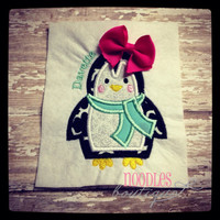 Winter Penguin Applique Shirt
