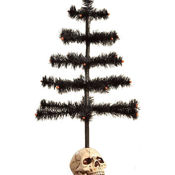 Halloween Feather Tree in Skull Base