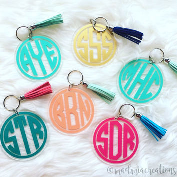 "3"" Circle Monogram Keychain With Tassel"