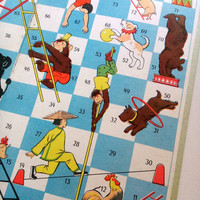 Vintage Game Board Circus, Soviet Board Game From The 1960's, Snakes And Ladders Soviet Version