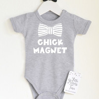 Chick Magnet Baby Boy Bodysuit. Baby Boy Clothes. Baby Shower Gift. Funny Infant Boy Clothing. Hipster Boy Shirt. Choose Your Color.