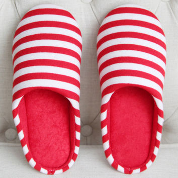 Stripe Printed Round Toe Indoors Woman Slippers