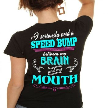 Country Life Southern Attitude Black Speed Bump Mouth T-Shirt