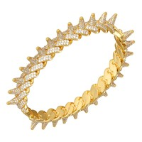 Miami Cuban Link Spike Bracelet Gold Finish Sterling Silver Bangle