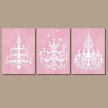 CHANDELIER Wall Art, Canvas or Prints Pink Watercolor Wall Art, Pink Bathroom Decor   Bedroom Decor Bathroom Picture Set of 3 Nursery Decor