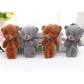 10CM Plush Stuffed Bear Toy Doll 2Colors - Joint Bear Wedding Bouquet GIFT TOY DOLL ; Keychain Pendant Plush Toy Doll