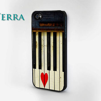 Vintage Piano and Heart  - iphone 5 cases-   iPhone cover, iPhone hard case- iPhone 4, iPhone 4s- Rubber Case - Samsung Galaxy S3