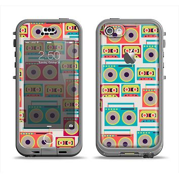 The Retro Boombox Pattern Apple iPhone 5c LifeProof Nuud Case Skin Set
