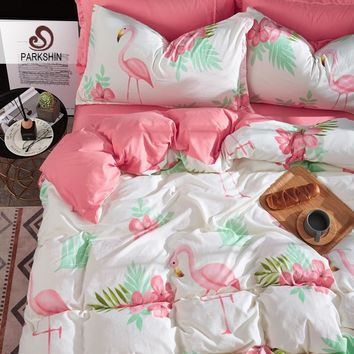 Parkshin Flamingos Bedding Set Pink Bed Sheets Set Decor Comforter Duvet Cover Bedspread Adult Double Bed Queen King Bedclothes