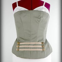 Bustier Top, Military Bustier, Steampunk Bustier, Corset Bustier