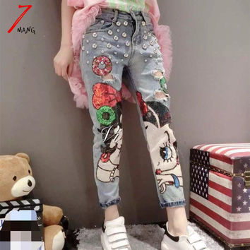 Plus size 2016 new spring women's novelty harajuku cartoon girl painted pencil jeans with hole and beading
