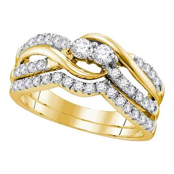 14kt Yellow Gold Women's Round Diamond 2-Stone Bridal Wedding Engagement Ring Band Set 3/4 Cttw - FREE Shipping (US/CAN)