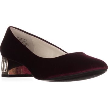 Anne Klein Haedyn Jeweled Block Heel Pumps, Wine, 8 US