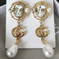 GUCCI New Fashion Gem Pearl Long Section Earrings Accessories Women Golden