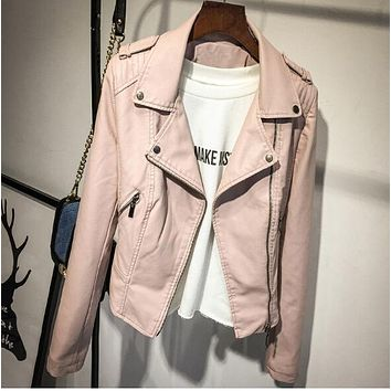 Brand Motorcycle PU Leather Jacket Women Winter And Autumn New Fashion Coat 2 Color Zipper Outerwear jacket New 2017 Coat HOT