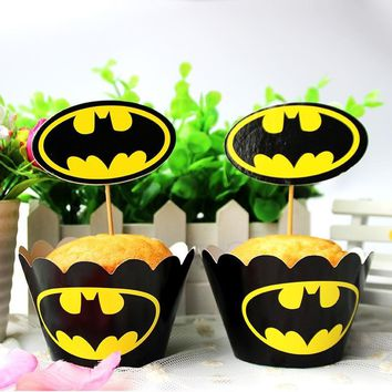 Batman Dark Knight gift Christmas 120pc Batman Party Paper Cupcake wrappers toppers for kids birthday party decoration cake cups(60pcs wraps+60pcs toppers) AT_71_6