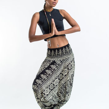 Tribal Prints Jumpsuit Harem Pants in Black