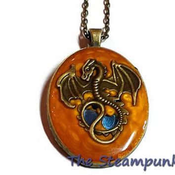 Game of Throne's Dragon Pendant Necklace, Steampunk Dragon with Blue Gems, Dragon Jewelry