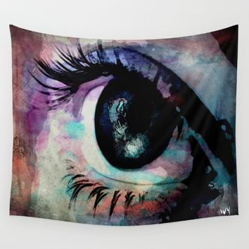 evil eye Wall Tapestry by Jessica Ivy