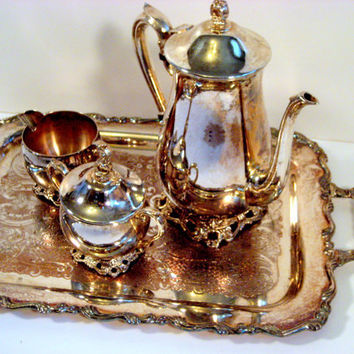 Wedding decor, Vintage Silver plate Tray and Coffee Pot set complete with Cream and Covered Sugar bowl