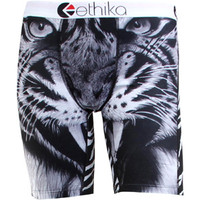 Ethika Men The Staple Long Boxers - Black Tiger (black / white) Apparel UMS317-BLW | PickYourShoes.com