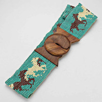 Boho Horse Beaded Wooden Belt Buckle Turquoise