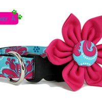 Dog Collar with Flower set- Turquoise Blue and Fuchsia Pink Floral (Mini,X-Small,Small,Medium ,Large or X-Large Size)- Adjustable