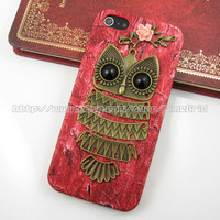 Red Owl iphone 5 case,Antique brass Owl with Branch Pink rose iphone 5 case,Wood color PU leather hard cover skin case for iphone 5 case
