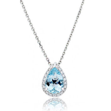 14 Karat White Gold 9x6mm Pear Cut Aquamarine Diamond Halo Solitaire Slide Pendant Necklace