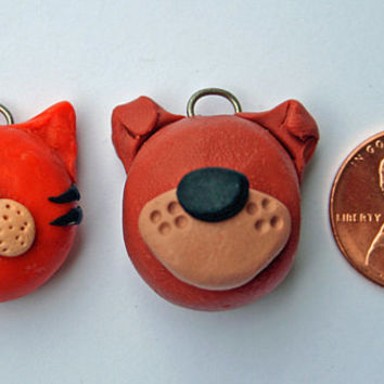 Cat and Dog Polymer Clay BFF Charms