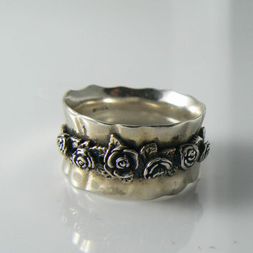 Sterling Silver Or Paz Gathered Rose Wide Band Ring, Israel Designer