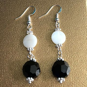 Black Swarovski and White Pearl Dangle Earrings